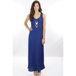 AG Twist Neck Blue Racerback Tank Maxi Dress Small